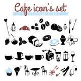 Satz Ikonen: Kaffeebohnen, Latte, Cappuccino, Torten, Donuts, Stockfotografie