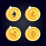 Satz Ikonen Litecoin, Kräuselung, Ethereum, bitcoin prägt stock abbildung