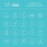 Satz Ikonen mit chemischer Laborausstattung Lizenzfreies Stockfoto