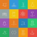 Satz Ikonen mit chemischer Laborausstattung Stockbilder