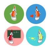 Satz Ikonen mit Karikaturbleistift stockfotos