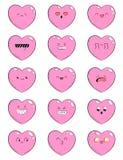 Satz Ikonen mit unterschiedlichem Gefühlherzen Sammlung Emoticons für Standort, Informationsgraphiken, Video, Animation, Website Stockfotos