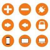 Satz Ikonen, orange technologischer Fortschrittshintergrund Lizenzfreies Stockbild
