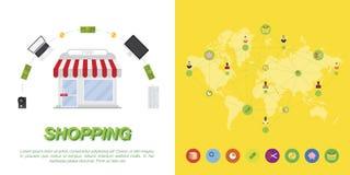 Satz Ikonen und Geräte auf Weltkartehintergrund stock abbildung