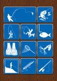 Satz Ikonen von Tätigkeiten im Freien: Fischen, Fischer, Fisch, Angelrute, Angelhaken, Netz, Weste Ikonen in der blauen Farbe Stockfotografie