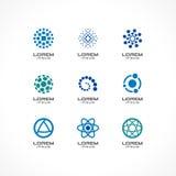Satz Ikonengestaltungselemente Abstrakte Logoideen für Unternehmen, Kommunikation, Technologie, Wissenschaft und medizinisches lizenzfreie abbildung