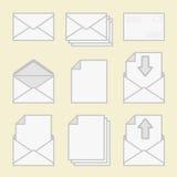 Satz Ikonenumschläge und -papier. Lizenzfreie Stockbilder