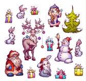 Satz Illustrationen des neuen Jahres Frohe Weihnachten Lizenzfreies Stockbild