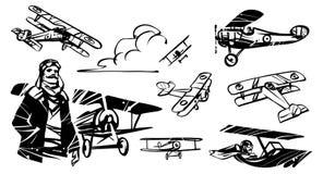 Satz Illustrationen Nieuport-17 Französischer Pilot des Ersten Weltkrieges vor dem hintergrund des Doppeldeckers Nieuport-17 Lizenzfreie Stockfotografie