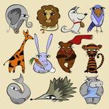Satz Illustrationen von Tieren Stockfotos