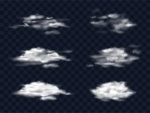Satz Illustrationen von transparenten weißen Wolken Lizenzfreie Stockbilder