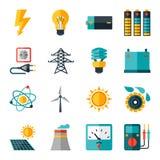 Satz Industrieenergieikonen in der flachen Designart Stockbilder