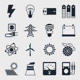 Satz Industrieenergieikonen in der flachen Designart Stockfotografie