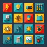 Satz Industrieenergieikonen in der flachen Designart Stockfotos