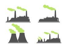 Satz Industriefabrik-Gebäudeikonen Anlage und Fabrik, Energie Lizenzfreies Stockfoto