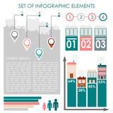 Satz infographics, städtische Demographiedatenikonen und Elemente, Illustration Stockfoto