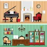Satz Innenmodehausräume des bunten Vektors mit Möbelikonen: Wohnzimmer- und Innenministerium Räume mit Weinleseinnenraum Stockbild