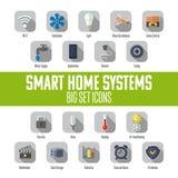 Satz intelligente Hauptikonen Intelligentes Hausautomatisierungssystem Lizenzfreie Abbildung