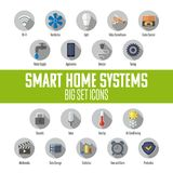 Satz intelligente Hauptikonen Intelligentes Hausautomatisierungssystem Vektor Abbildung