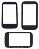 Satz intelligente Telefone mit herausgeschnittenem Schirm Stockbild