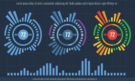 Satz intelligenter Technologie hud Schnittstelle Netzführungs-Datenschirm mit unterschiedlichem Diagramm und Diagramm lizenzfreie abbildung