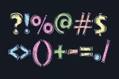 Satz Interpunktionszeichen Alphabet u. Zahl Stockfotografie