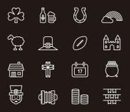 Satz irische Ikonen oder Symbole Stockfoto