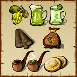 Satz irischer Symbolismus der Weinlese, Bär, Tabak stock abbildung