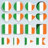 Satz Irland-Flaggen in einem flachen Design Lizenzfreies Stockfoto