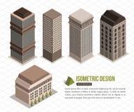 Satz isometrische hohe Gebäude für Stadtgebäude Lizenzfreie Stockfotos