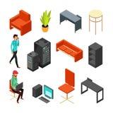 Satz isometrische Ikonen des Büros Computer, Server, Anlage und technisches Personal Flache Vektorillustration Stockbild