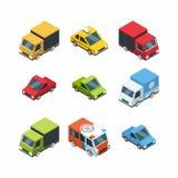 Satz isometrische Karikatur-ähnliche Stadtautos Lizenzfreie Stockfotos