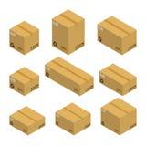 Satz isometrische Pappschachteln, Pakete lokalisiert auf weißem Hintergrund Lizenzfreies Stockbild