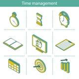 Satz isometrische Zeitmanagementikonen Stockbilder