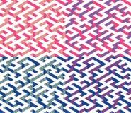 Satz isometrisches Labyrinth mit den blauen und rosa Rändern verziert mit flacher Labyrinthverzierung Stockbild