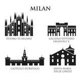 Satz Italien-Architekturmarksteine, Piktogramm in Schwarzweiss Stockfotografie