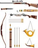 Satz Jagdwaffen Stockbilder