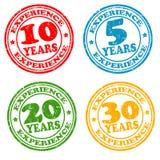 Satz Jahre von Erfahrungsstempeln Lizenzfreie Stockbilder