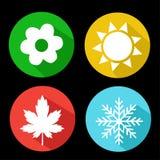 Satz Jahreszeit-Ikonen Winter, Frühling, Sommer, Herbst vektor abbildung