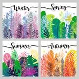 Satz Jahreszeithintergrund mit modischen bunten Blättern Botanische Illustration des Vektors Großes Gestaltungselement für Kalend Lizenzfreies Stockfoto