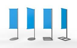 Satz japanische Flaggenanzeige der blauen leeren Fahne mit Aluminium Franc Stockbilder