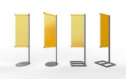 Satz japanische Flaggenanzeige der gelben leeren Fahne mit Aluminium Stockfotos