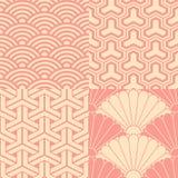 Satz japanische nahtlose Muster Lizenzfreie Stockfotos