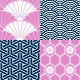Satz japanische nahtlose Muster Stockfotografie