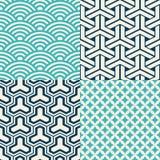 Satz japanische nahtlose Muster Lizenzfreie Stockbilder