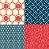 Satz japanische nahtlose Muster Stockfotos
