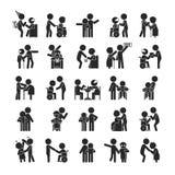 Satz Junge erbieten Charakter, menschliche Piktogramm Ikonen freiwillig Lizenzfreie Stockbilder
