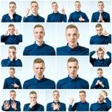 Satz junger Mann ` s Porträts mit verschiedenen Gefühlen lizenzfreie stockfotografie