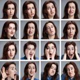 Satz junges woman& x27; s-Porträts mit verschiedenen Gefühlen Stockfotos