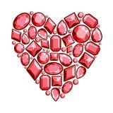 Satz Juwelen in Form von Herzen Edelsteine des roten colo Stockfotos